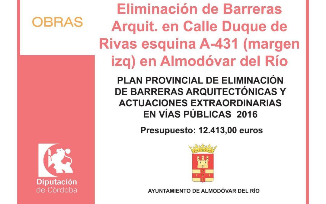 Eliminación de Barreras Arquit. en Calle Duque de Rivas esquinas A-431 (margen izq) en Almodóvar del Río