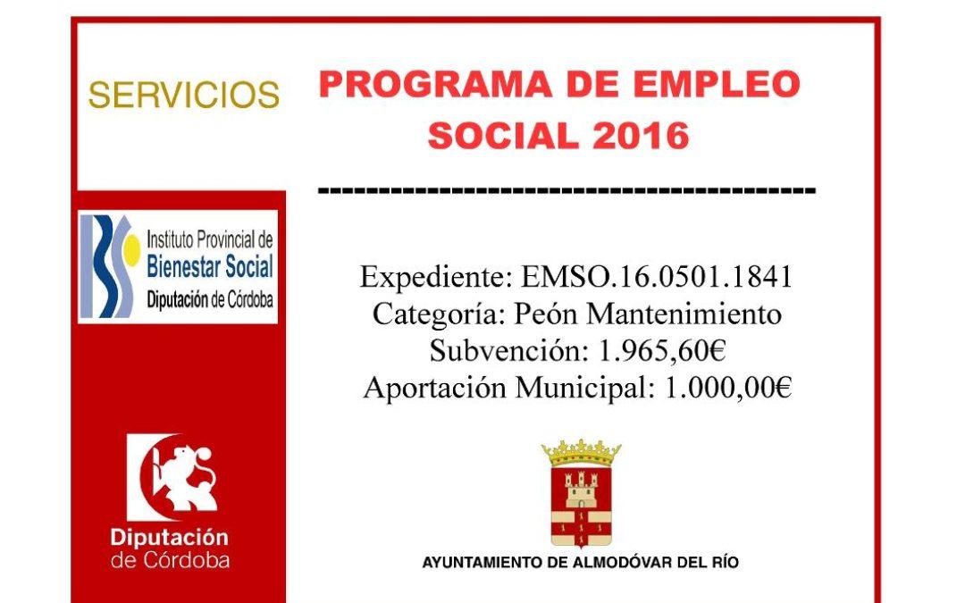 Programa de empleo social 2016 - Exp: EMSO.16.0501.1841 1