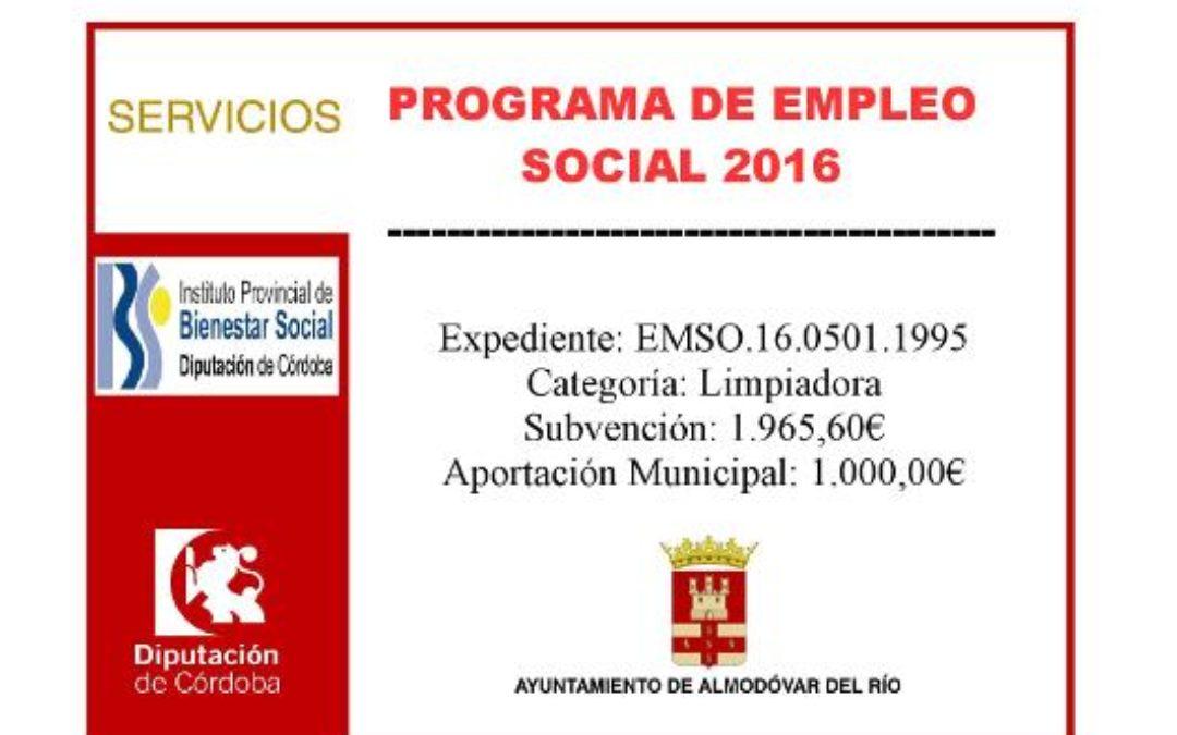Programa de empleo social 2016 - Exp: EMSO.16.0501.1995 1