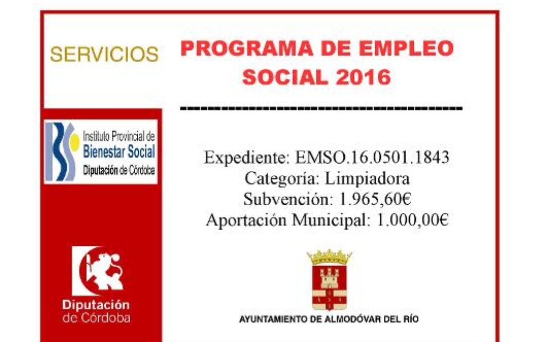 Programa de empleo social 2016 - Exp: EMSO.16.0501.1843 1