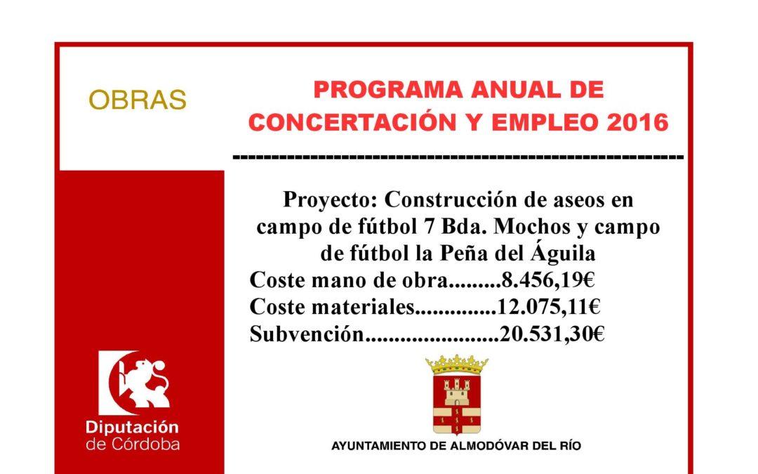 Construcción de aseos en campo de fútbol 7 Bda. Los Mochos y campo de fútbol la Peña del Águila 1