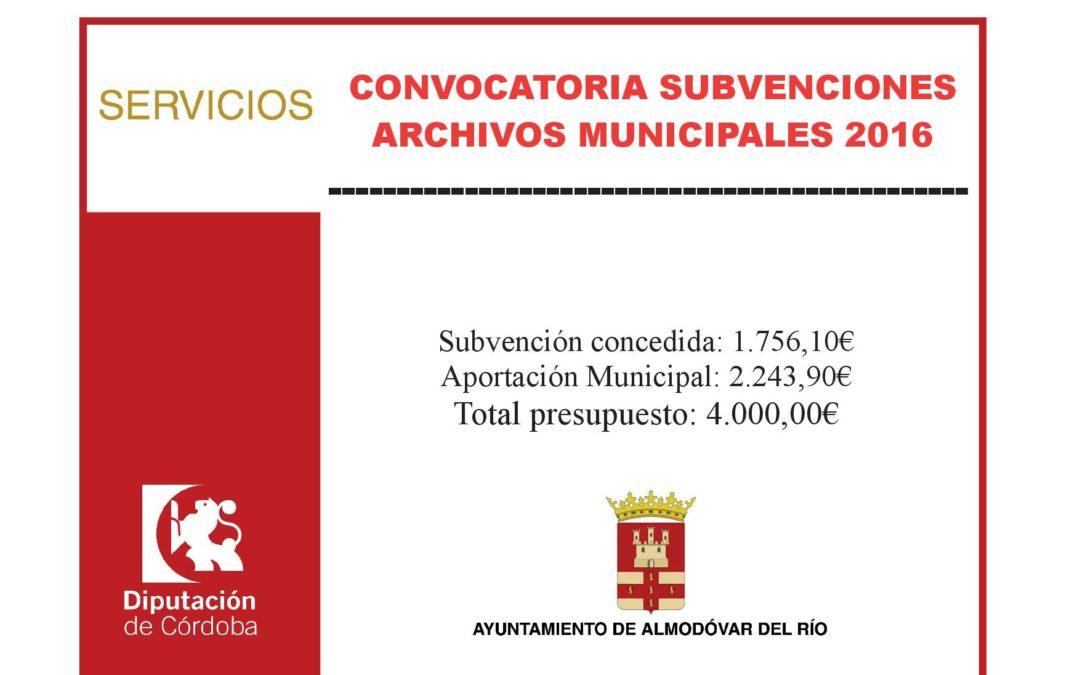 Convocatoria subvenciones archivos municipales 2016 1
