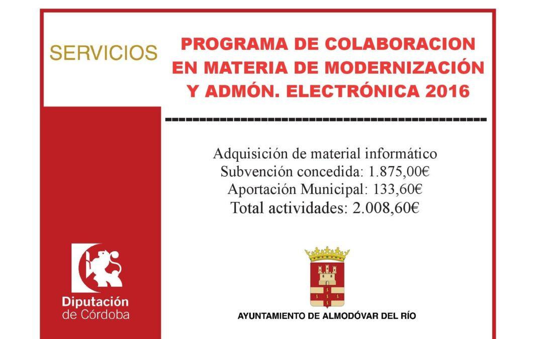 Programa de colaboración en material de modernización y admón. electrónica 2016 1
