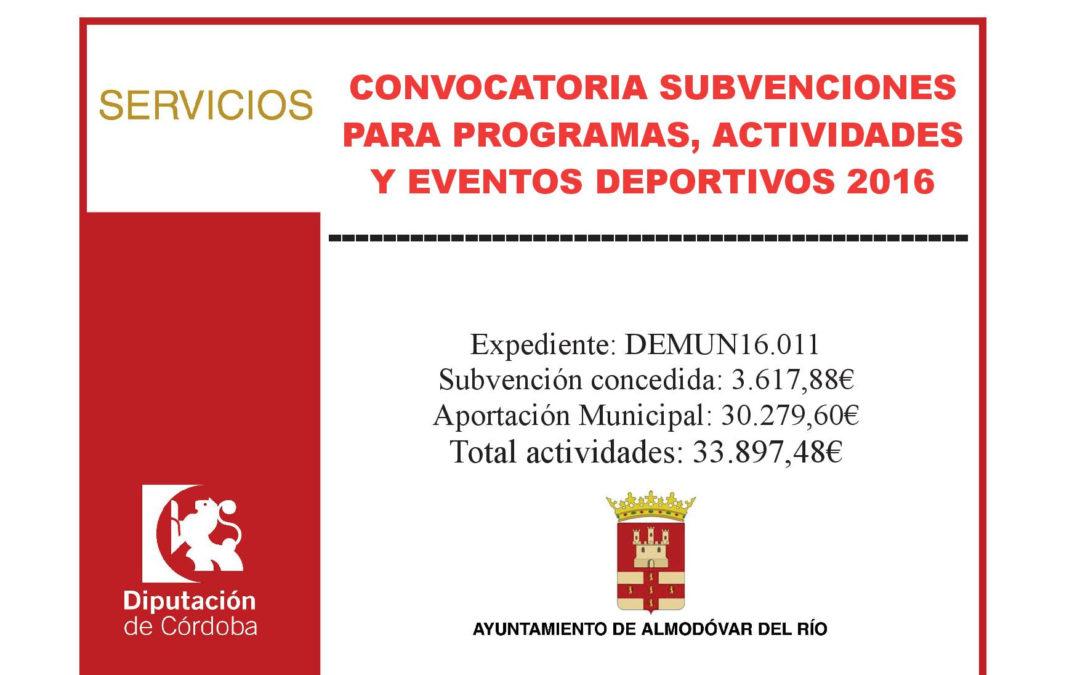 Convocatoria subvenciones para programas, actividades y eventos deportivos 2016 1