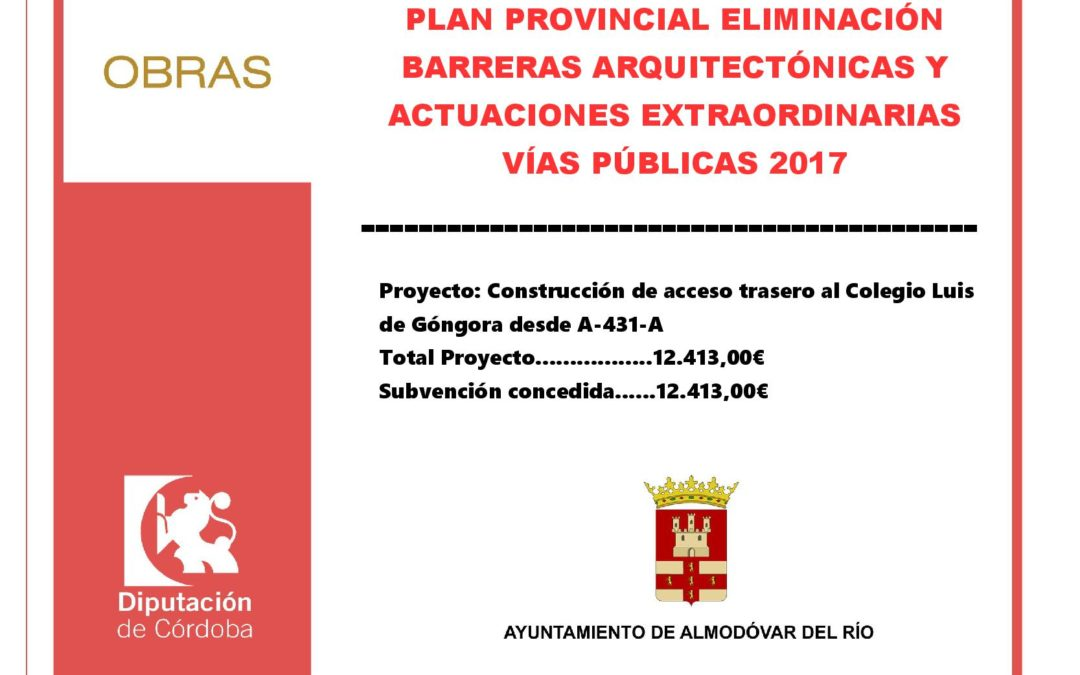 Plan provincial de eliminación de barreras arquitectónicas y actuaciones extraordinarias en vías públicas 2017 1