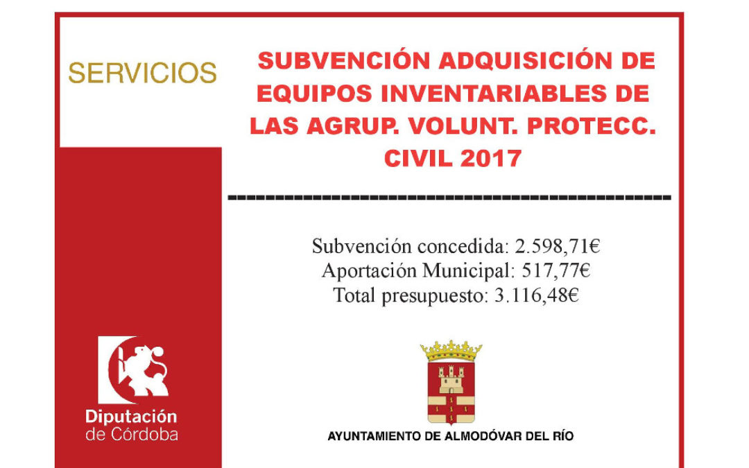 Adquisición de equipos inventariables de las Agrup. Volunt. Protecc. Civil 2017 1
