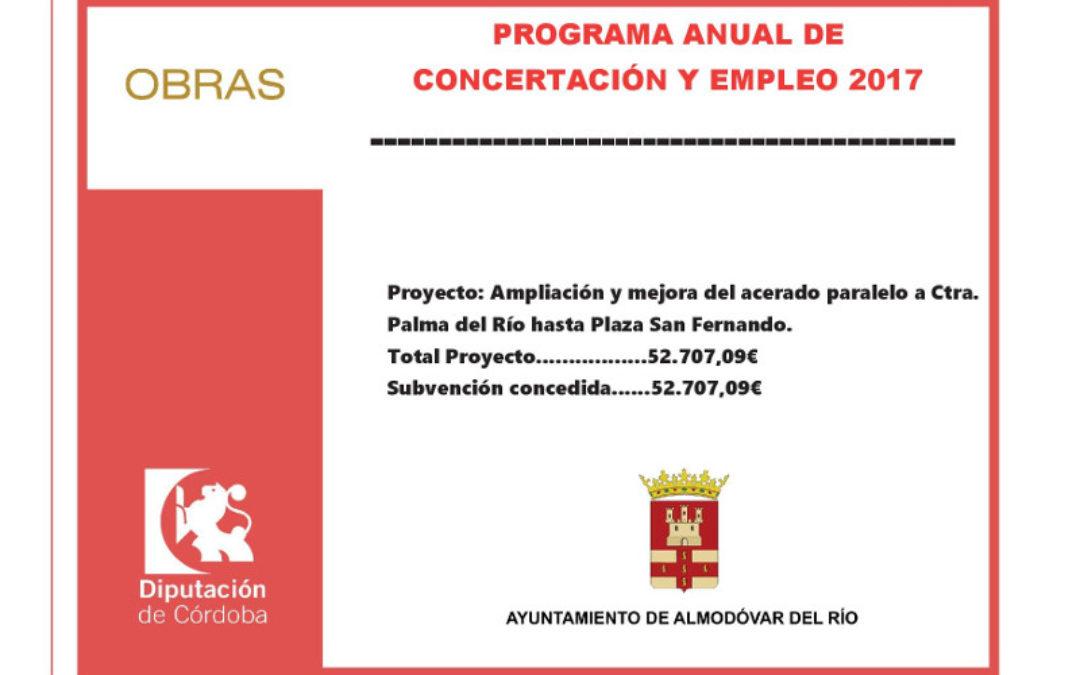 Ampliación y mejora del acerado paralelo a Ctra. Palma del Río hasta Plaza San Fernando 1