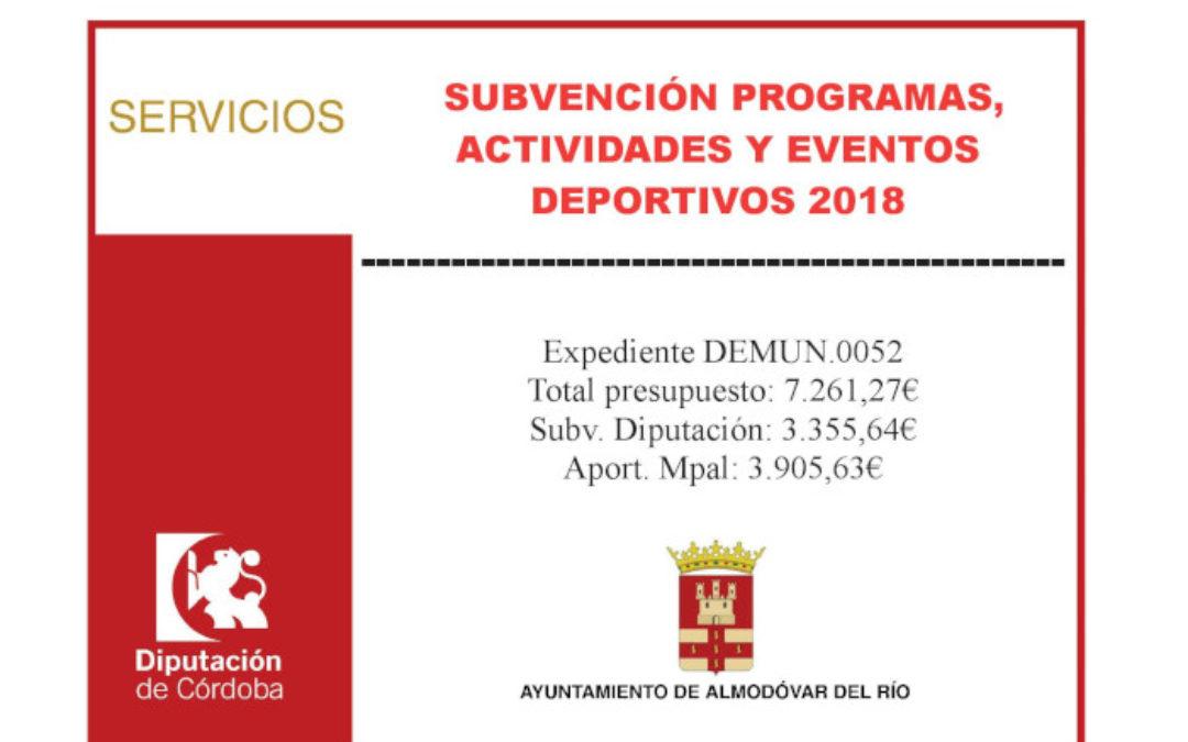 Subvención programas, actividades y eventos deportivos 2018 1