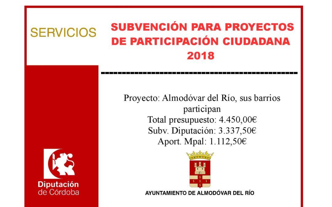 Proyectos de participación ciudadana 2018 (Almodóvar del Río, sus barrios participan) 1