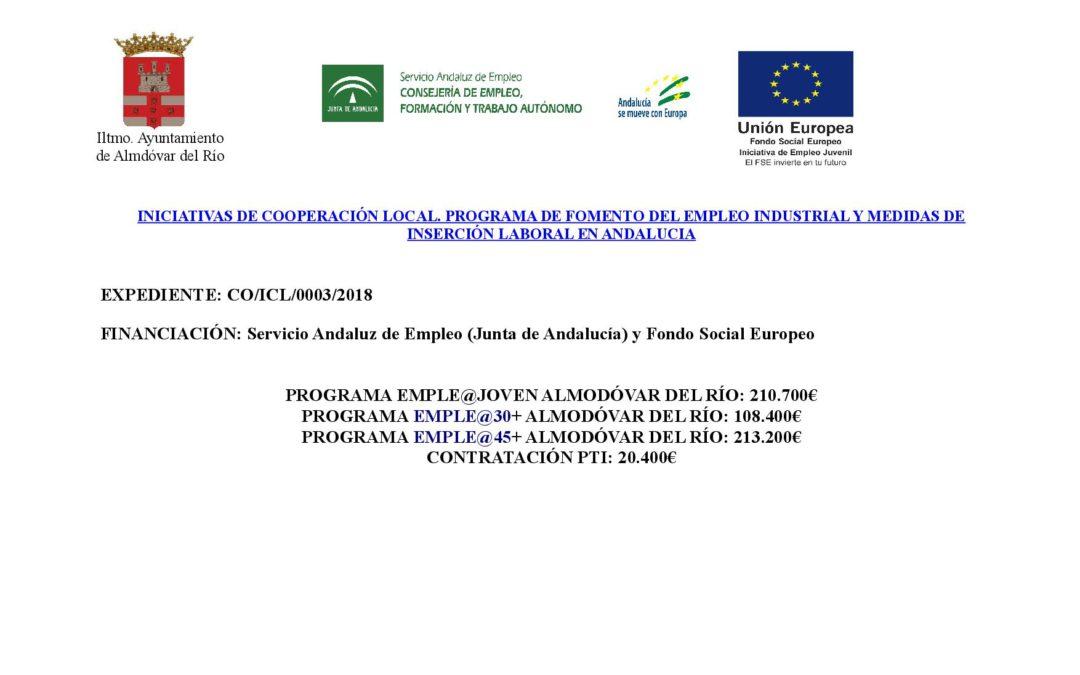 Iniciativas de cooperación local, programa de fomento del empleo industrial y medidas de inserción laboral en Andalucía 1