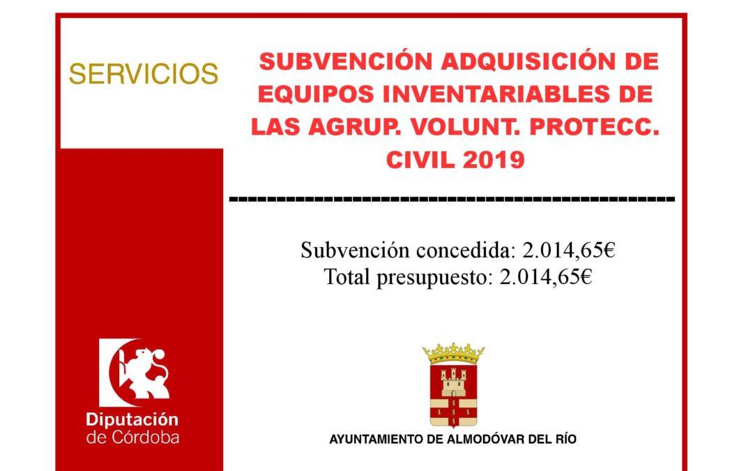 Adquisición de equipos inventariables de las agrupaciones de voluntarios de protección civil 2019 1