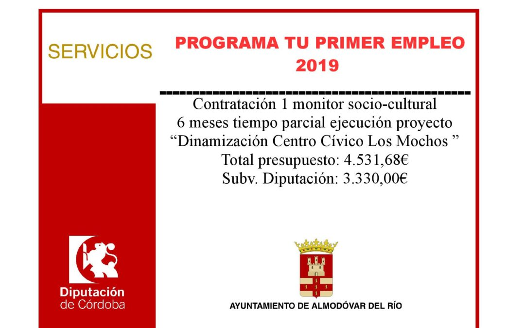 """Contratación de un monitor socio-cultural por 6 meses a tiempo parcial para ejecución proyecto """"Dinamización Centro Cívico Los Mochos"""" 1"""