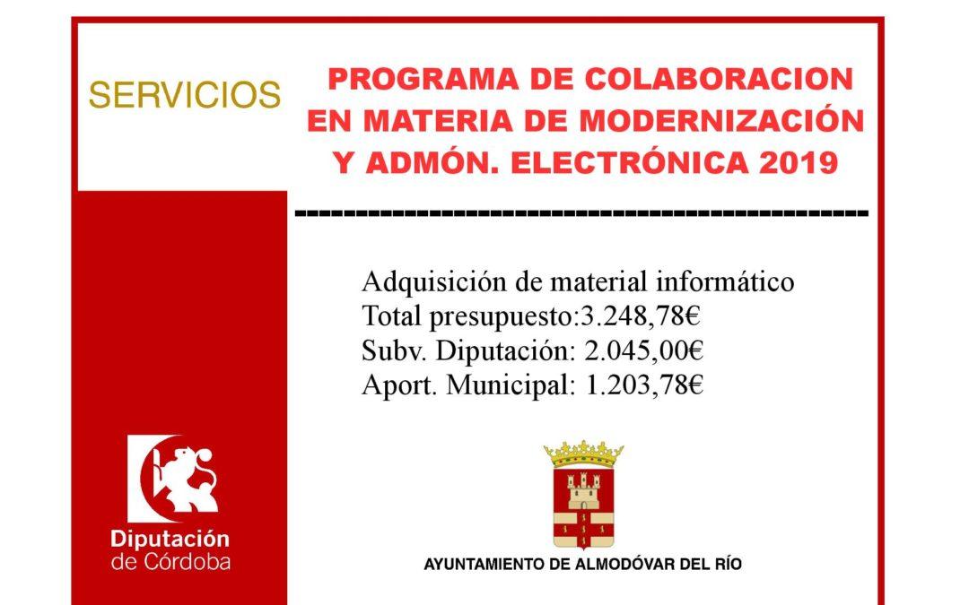 Programa de colaboración en material de modernización y Admón. electrónica 2019 1