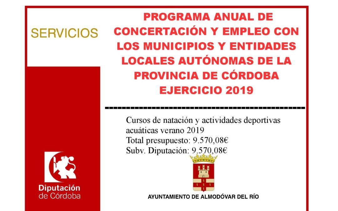 Programa anual de concertación y empleo con los municipios de la provincia de Córdoba 2019 - Cursos de natación y actividades deportivas acuáticas verano 2019 1
