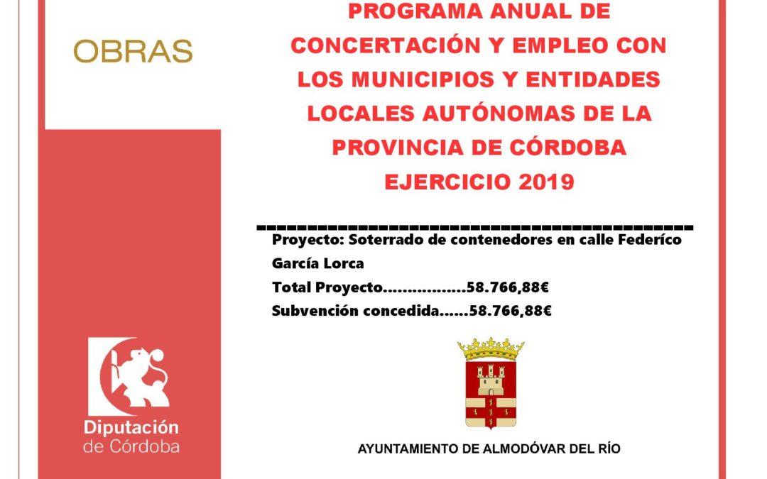 Programa anual de concertación y empleo con los municipios de la provincia de Córdoba 2019 – Soterrado de contenedores en calle Federico García Lorca