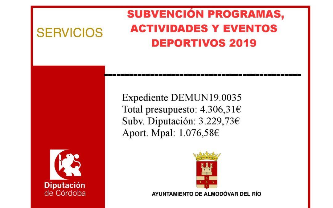 Subvención programas, actividades y eventos deportivos 2019 (Exp.: DEMUN19.0035) 1