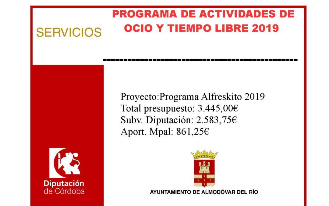 Programa de actividades de ocio y tiempo libre 2019 – Programa Alfreskito 2019