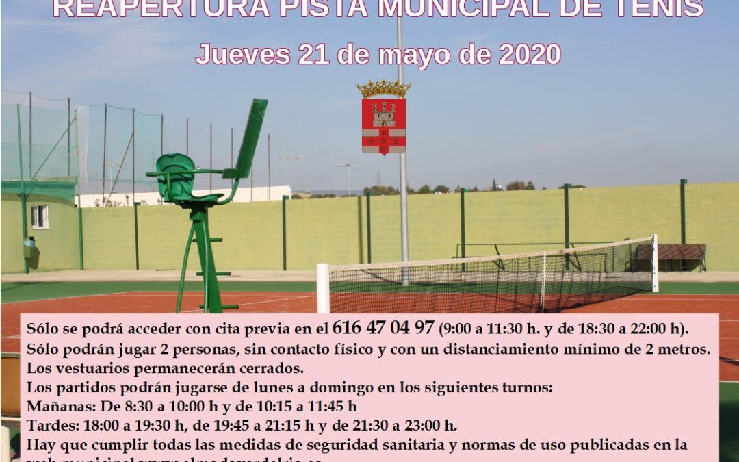 El jueves 21 de mayo reabre la pista municipal de tenis
