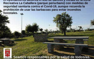El Consistorio permite el uso de bancos y mesas del parque periurbano y recuerda la prohibición de encender fuegos